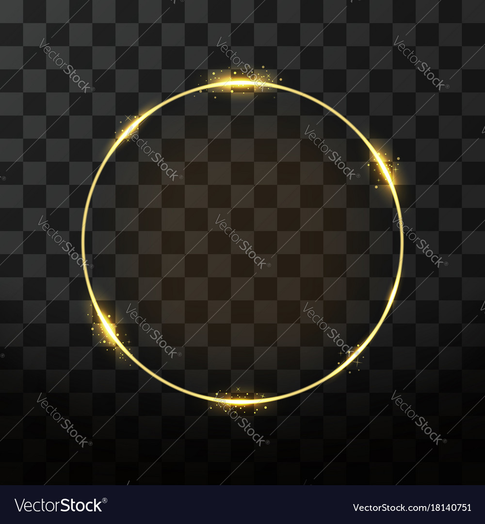 Golden frame with glow effect neon circle frame