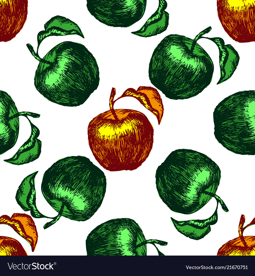 Seamless apple sketch pattern hand drawn