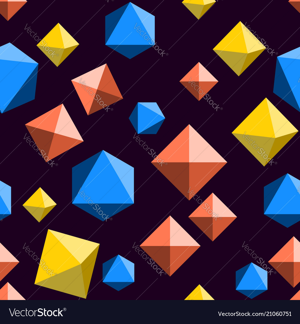 Seamless pattern with orange blue and yellow