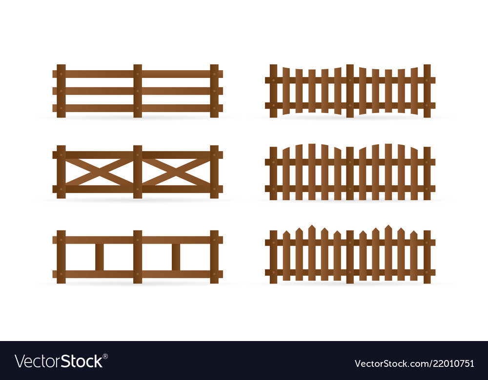 Set of different rural wooden fences isolated