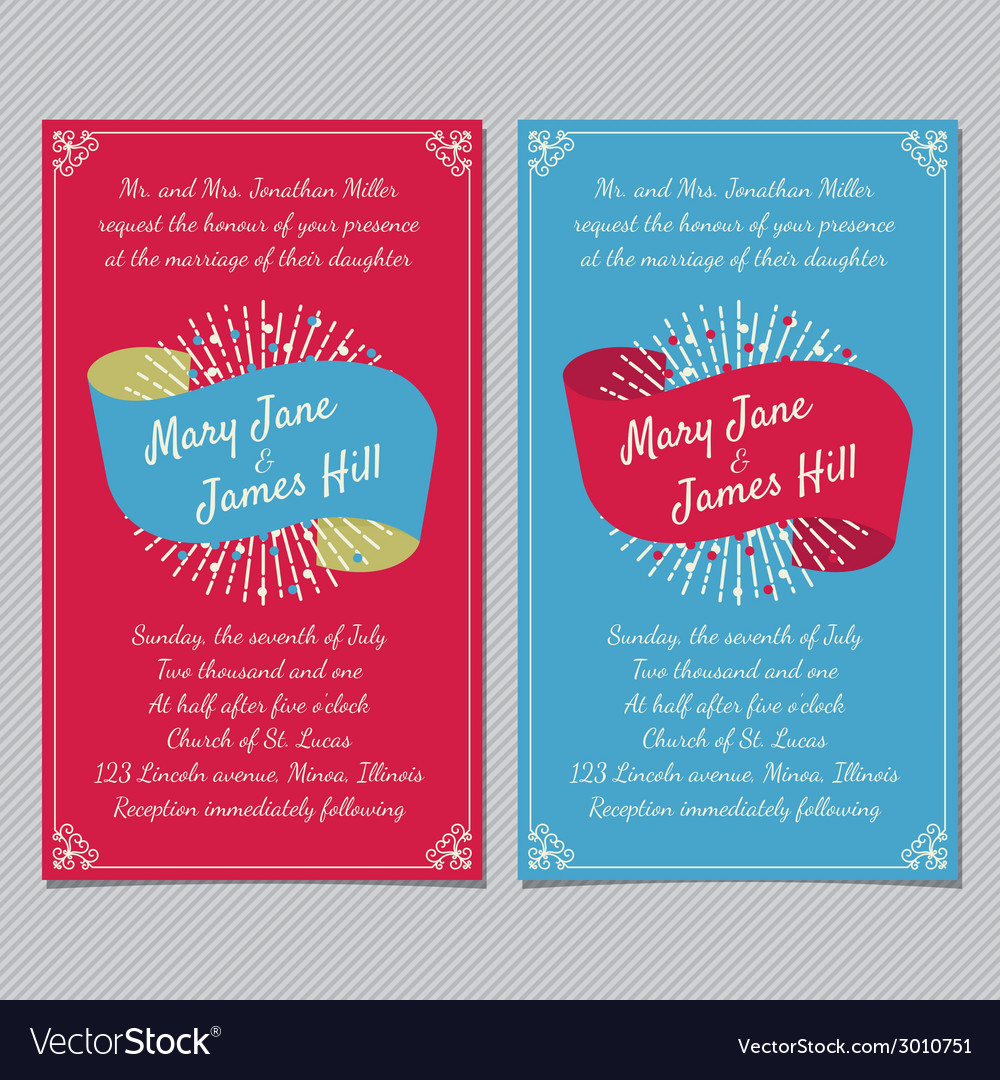 Wedding Invitation with ribbon Royalty Free Vector Image