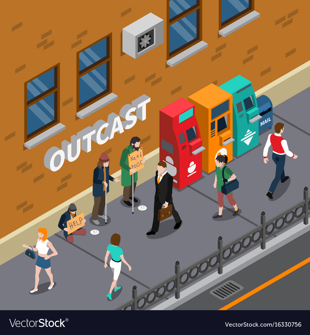 Beggars at street isometric
