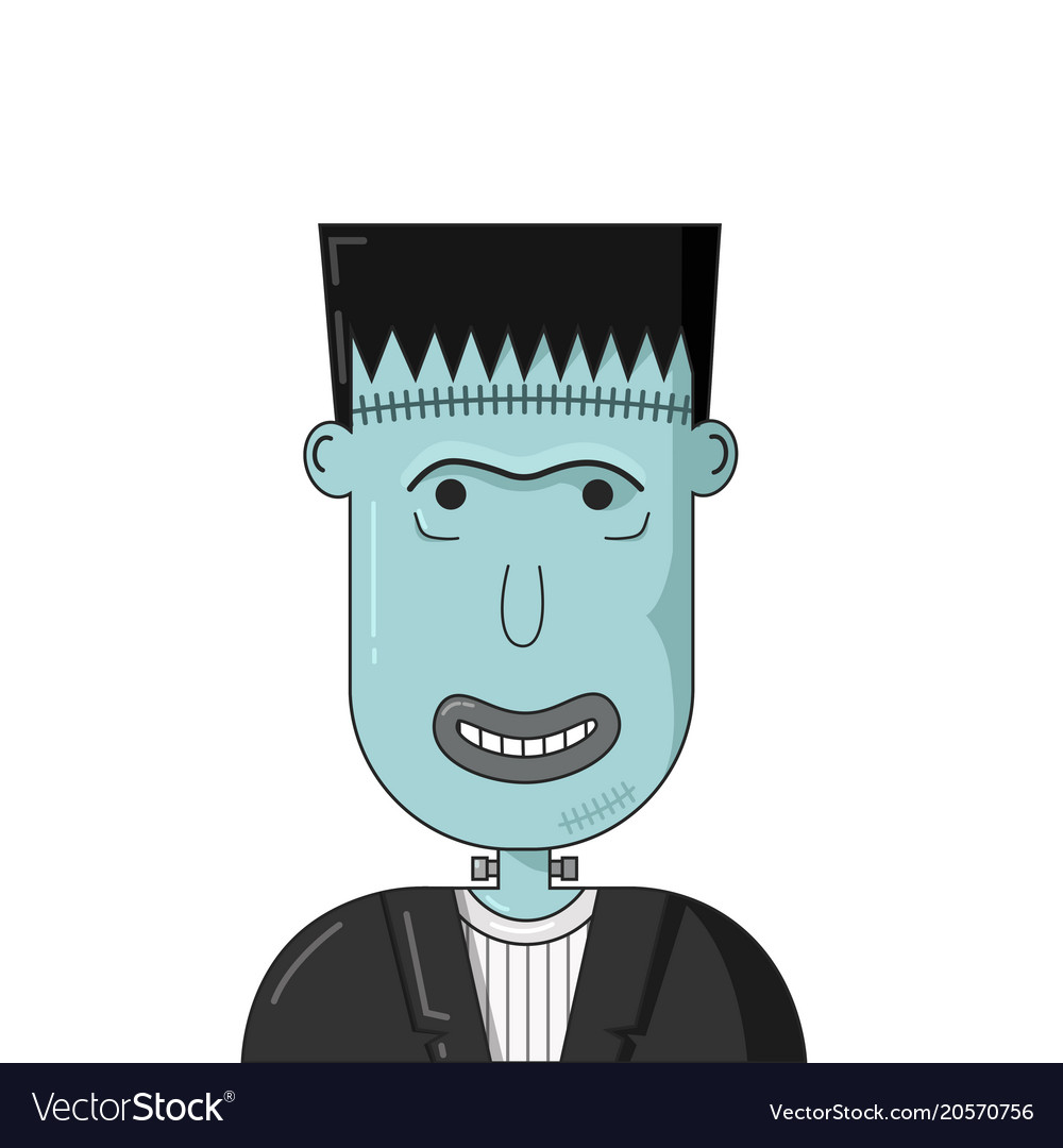 Cartoon smiling frankenstein head