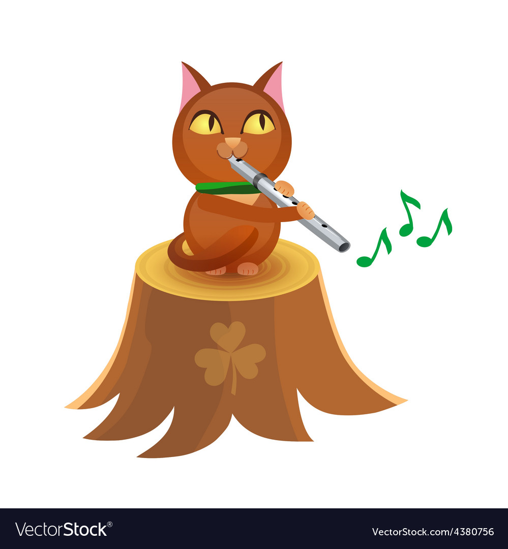 Cat with flute on tree stump