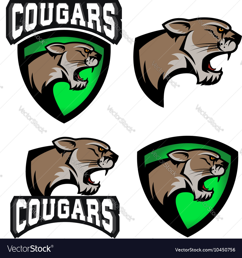 Cougars sport team logo template Royalty Free Vector Image