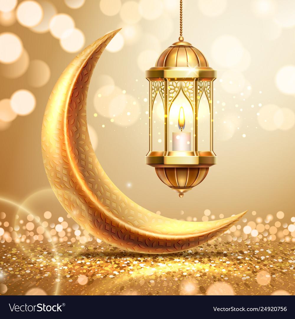 Crescent and lantern on ramadan greeting card