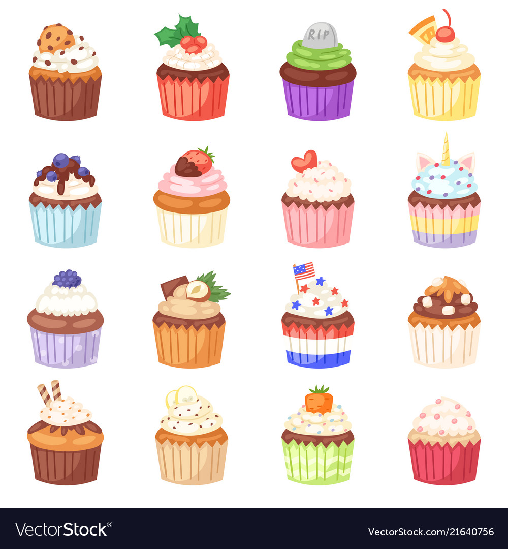 Cupcake muffin and sweet cake dessert with