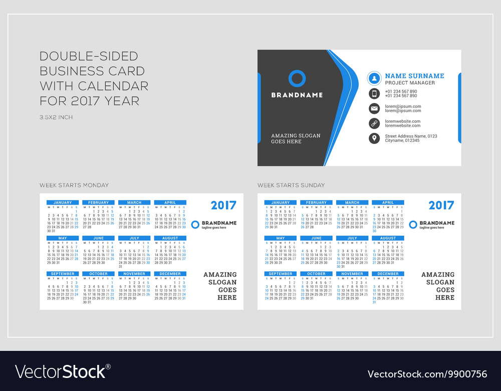 Double sided business card template with calendar vector image flashek