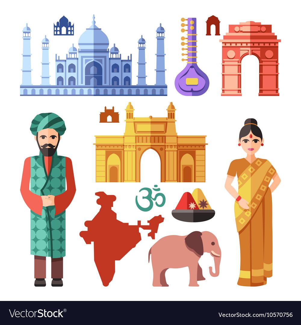 India flat icons with national landmarks