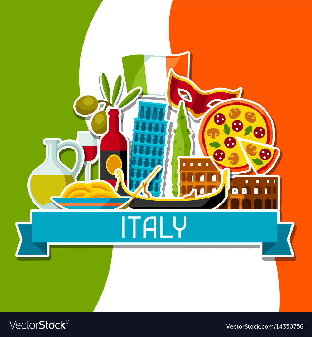 Italy Background Design Italian Sticker Symbols Vector Image