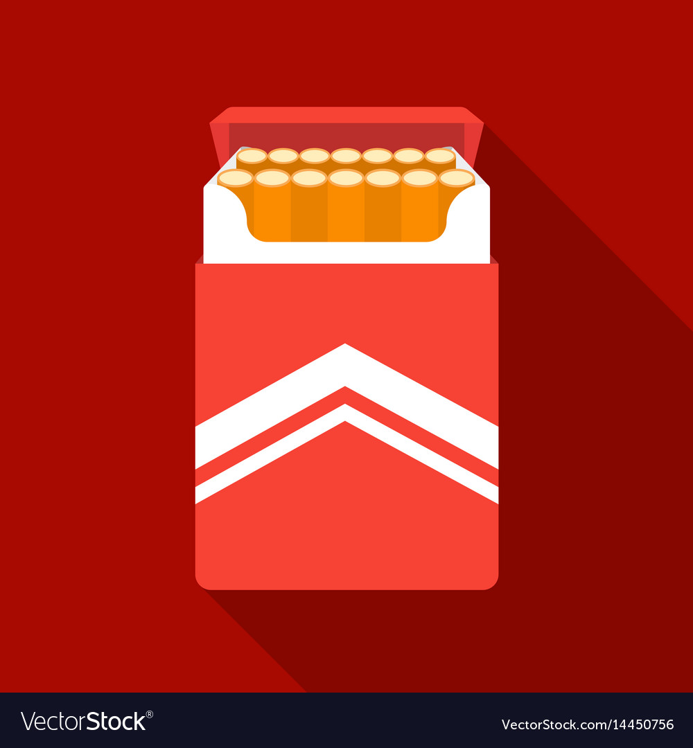 Pack of cigarettes icon in flat style isolated on