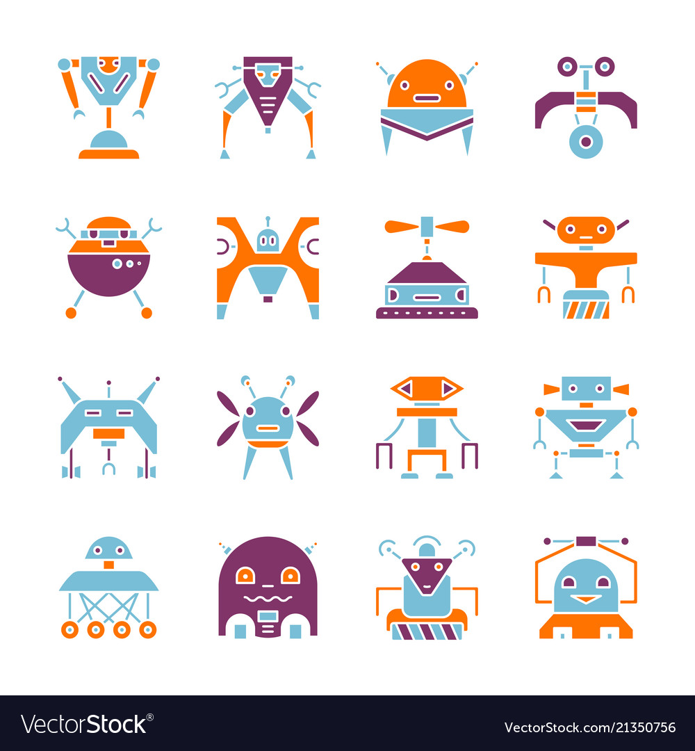 Robot household machine flat style color icon set