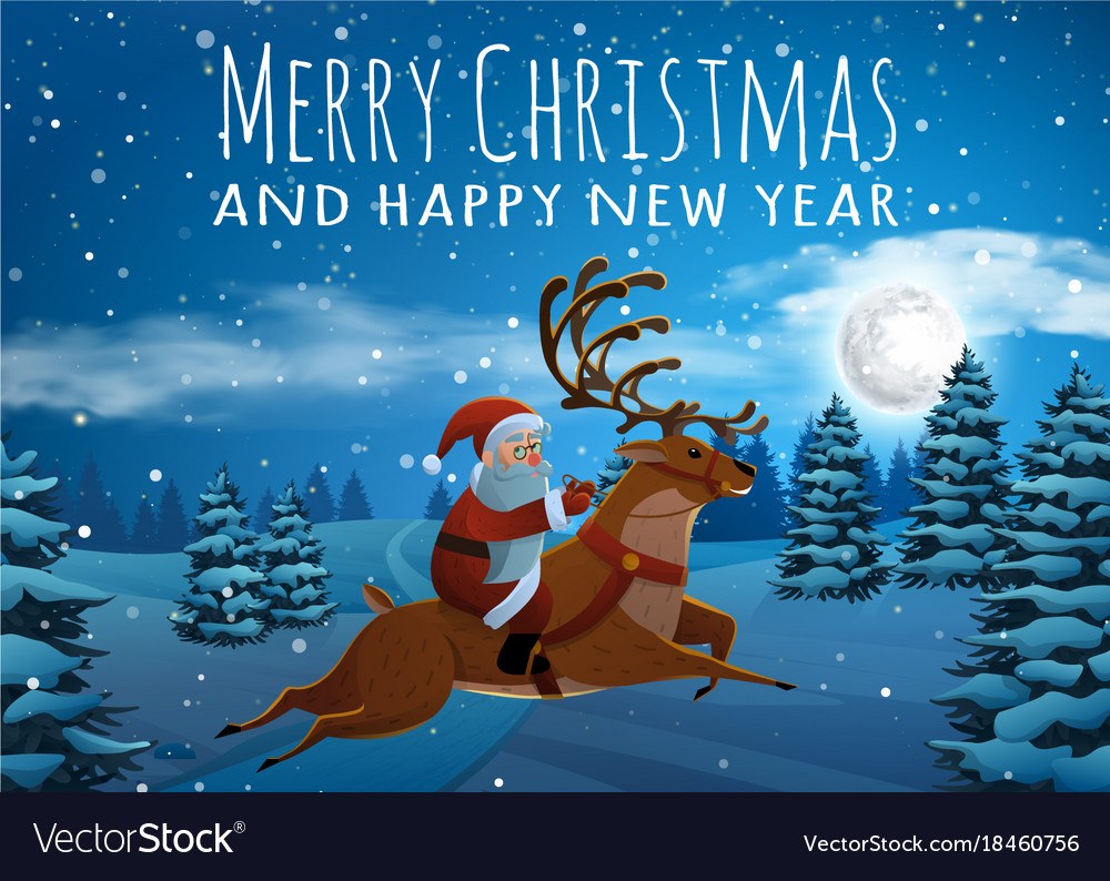 Santa claus on deer riding on sleigh with