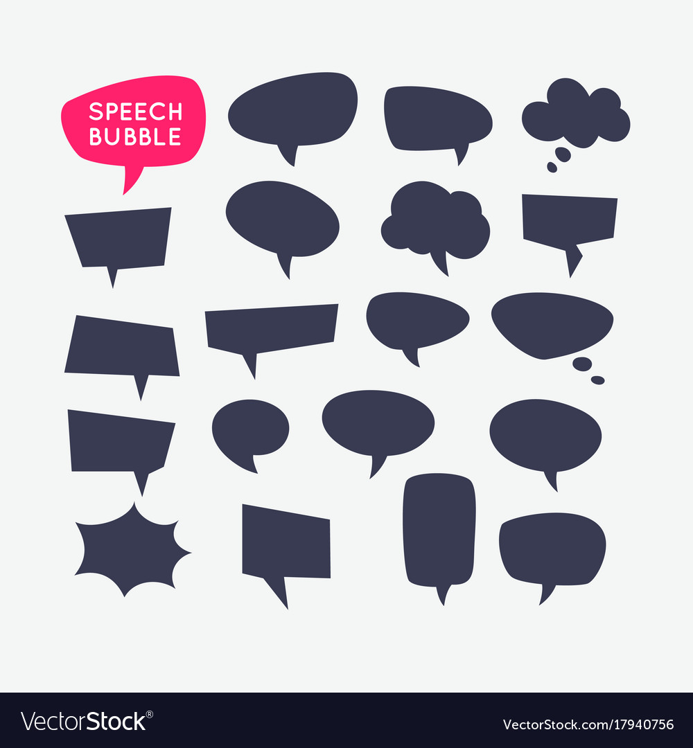 Set speech bubbles and blank template for quotes