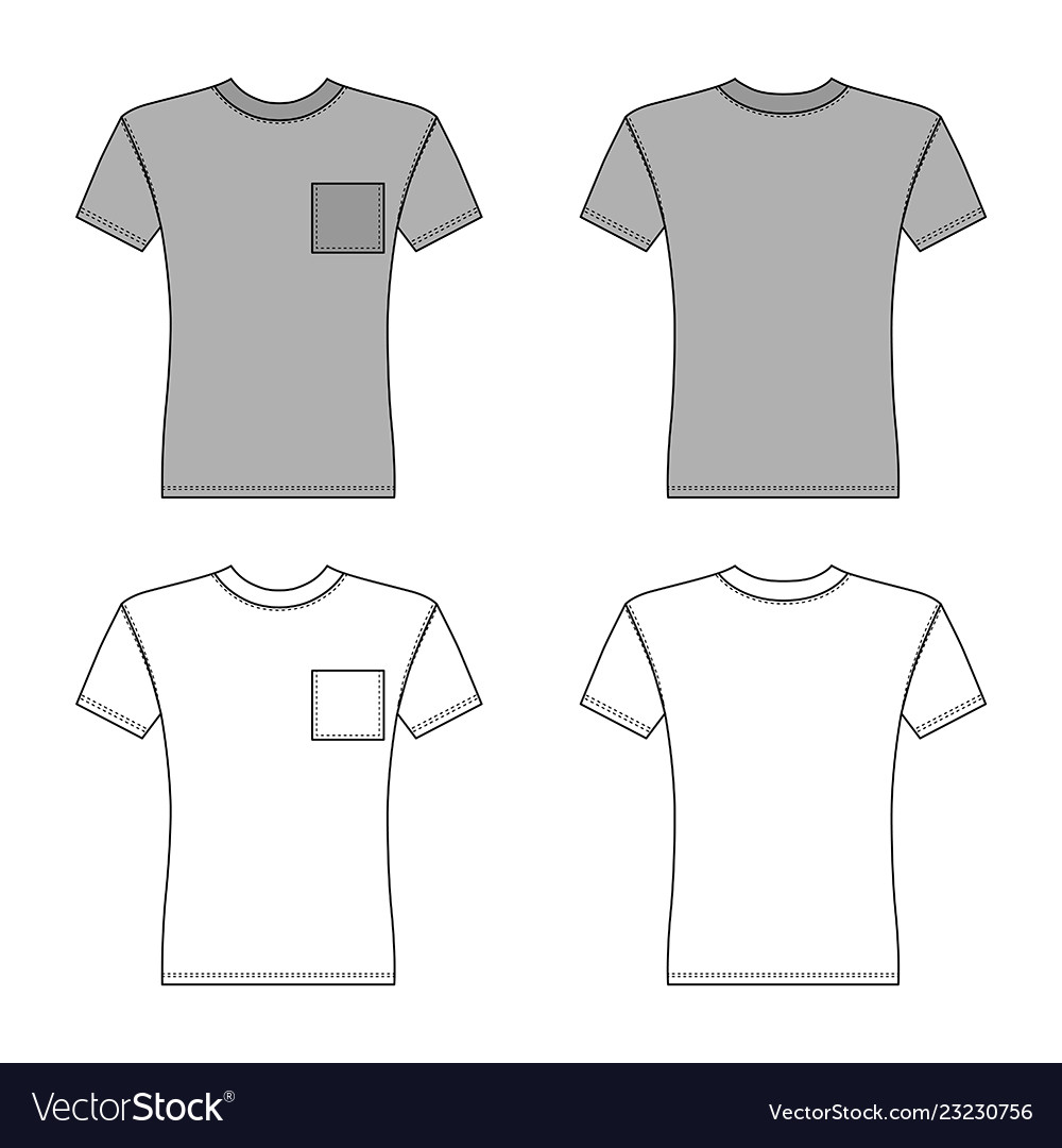 T Shirt Man Template Front Back Views Royalty Free Vector