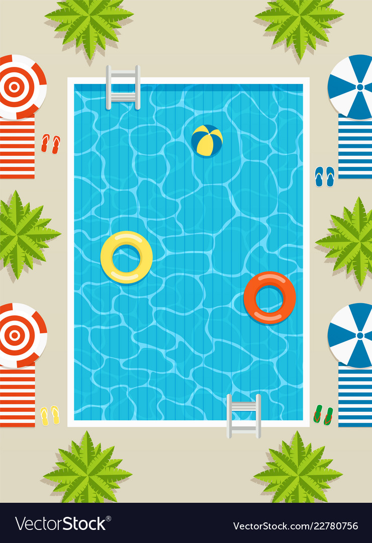 Top view of pool with sun loungers and umbrellas