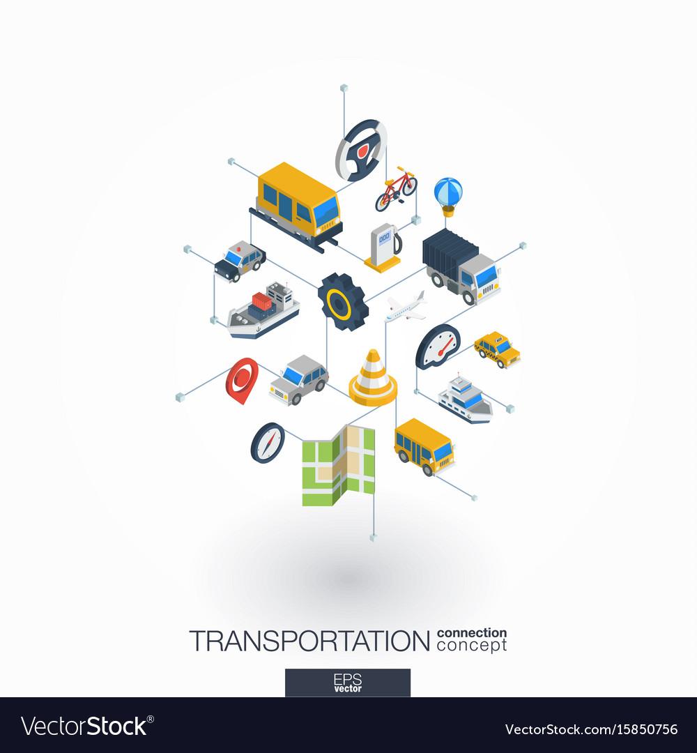 Transportation integrated 3d web icons digital