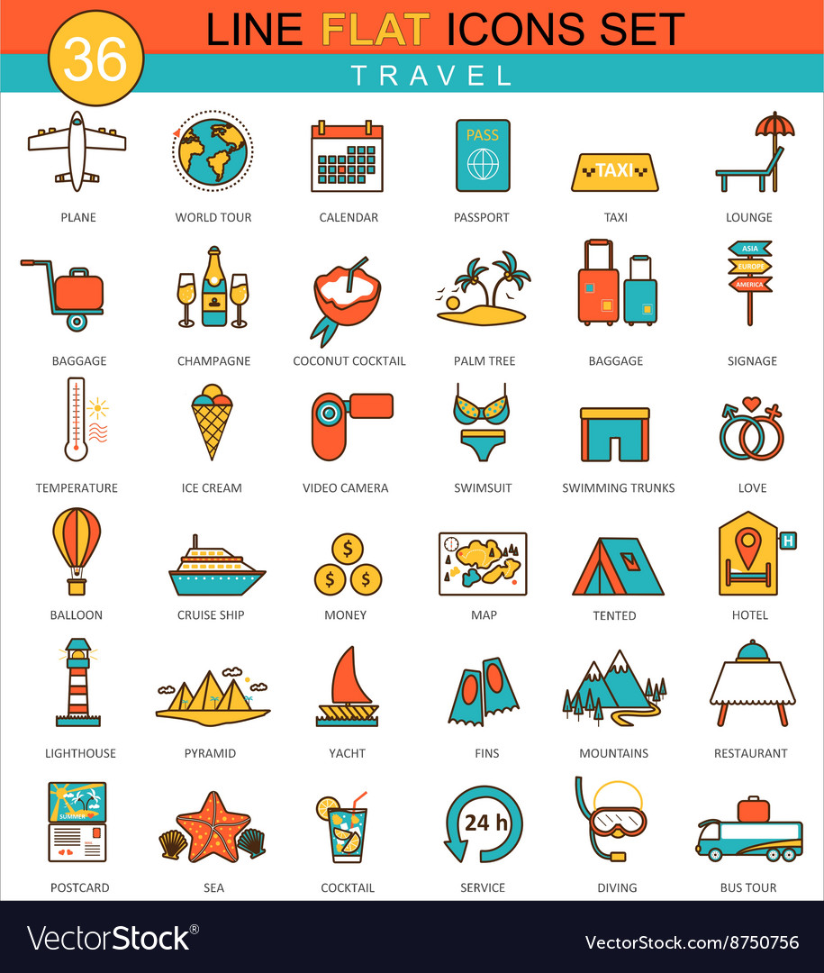 Travel flat line icon set Modern elegant