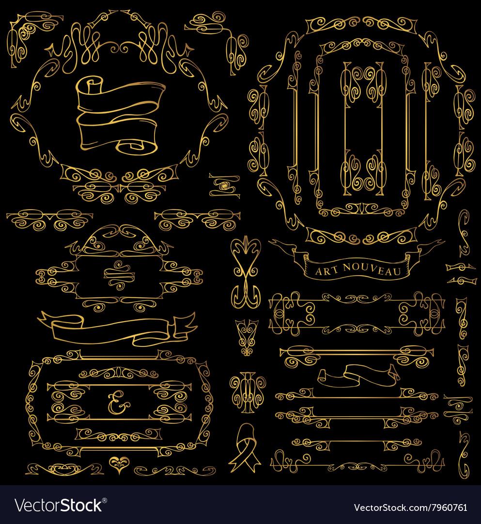 Calligraphic Royal Decor ElementsGold Frames