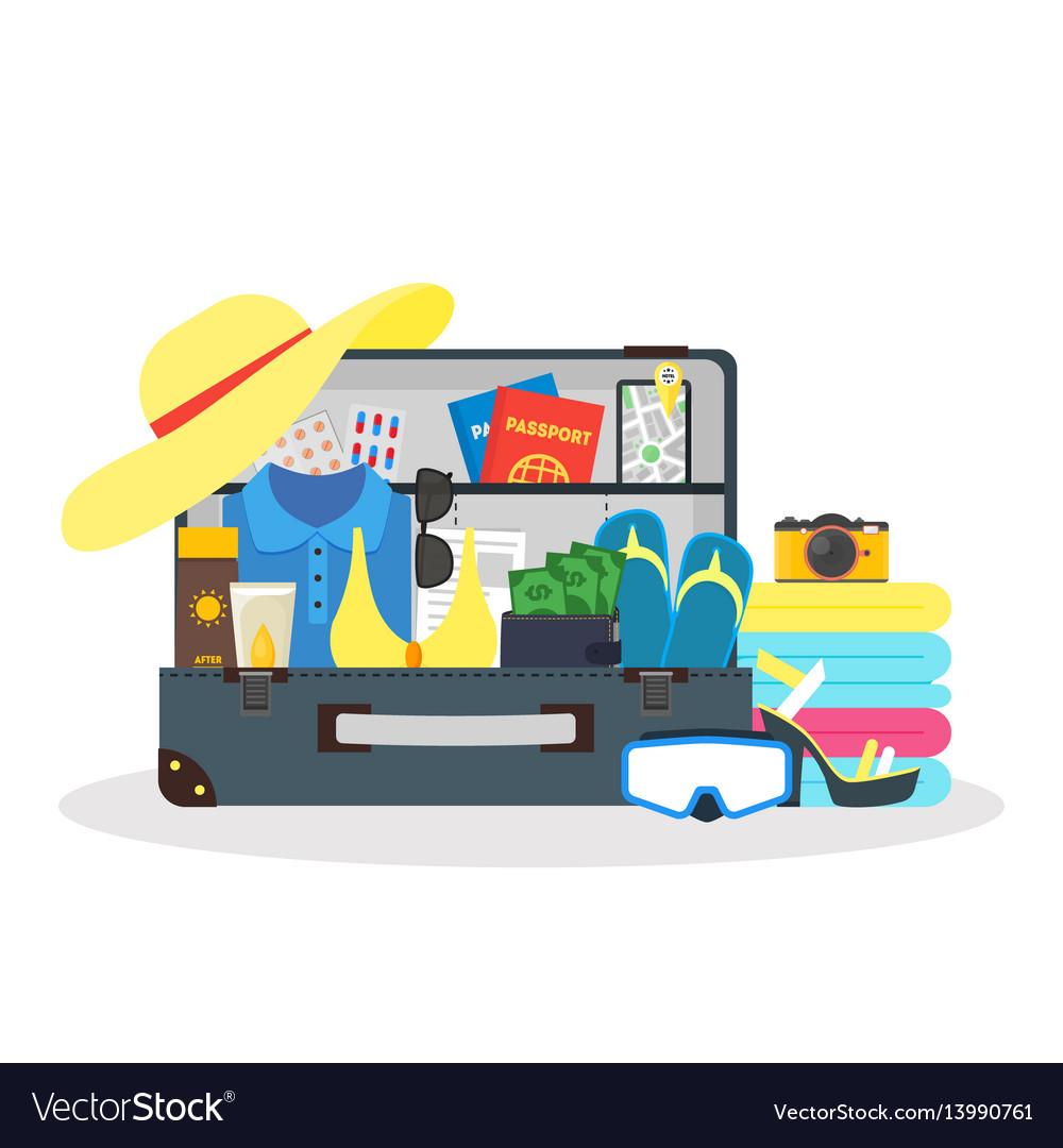 Cartoon travel suitcase vector image