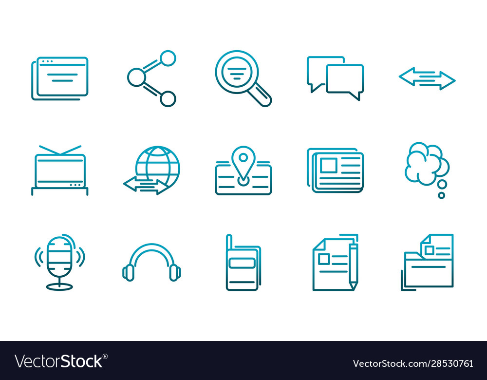 Communications talk information broadcast icons