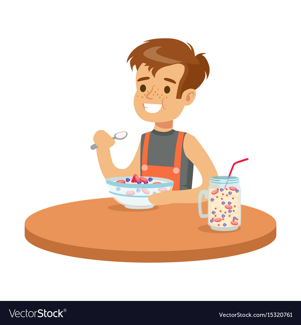 Cute Smiling Boy Having Breakfast In The Kitchen Vector Image