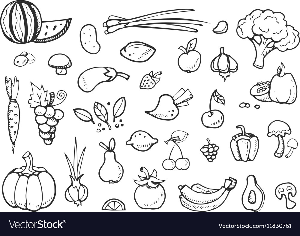 Fresh vegetables and fruit doodle icons