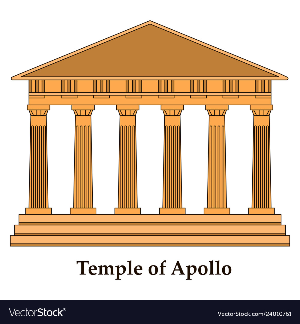 Greece temple of apollo outline flat icon vector image