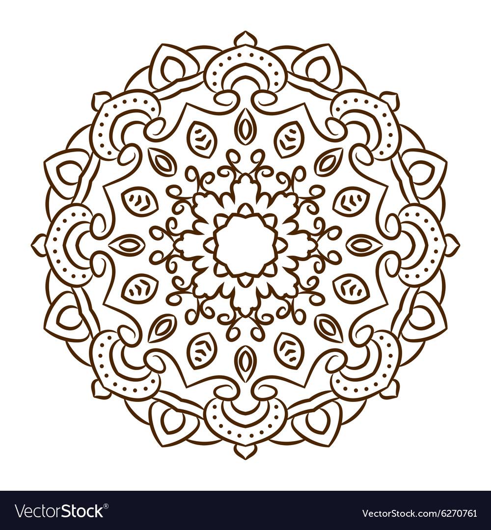 Hand Drawn Henna Tattoo Mandala Lace Royalty Free Vector