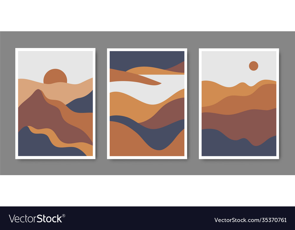 Set minimalist mountain landscapes