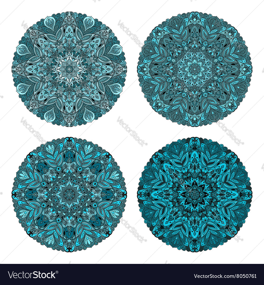 Set of four turquoise circular ornaments