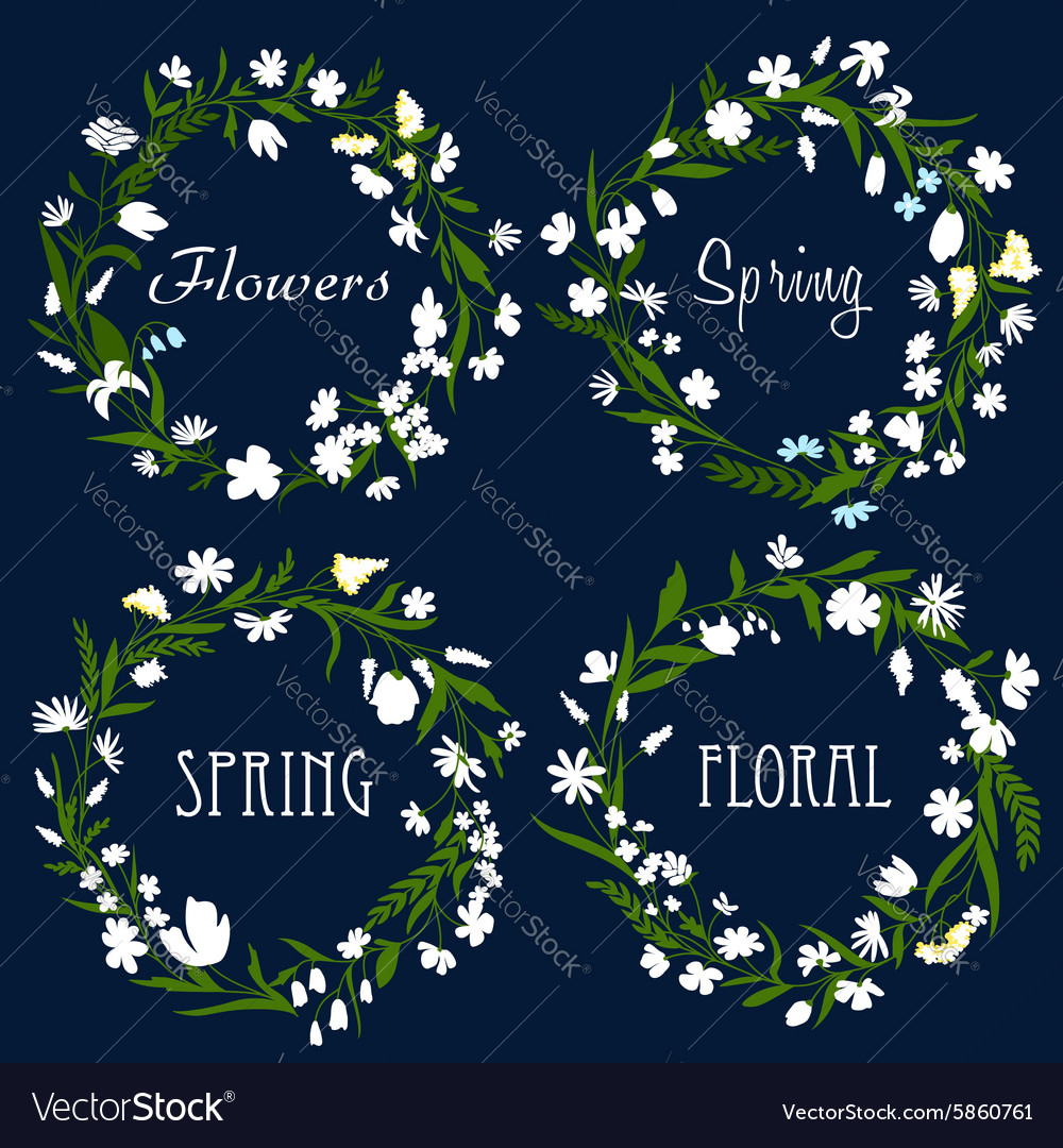 Set of pretty spring floral wreaths