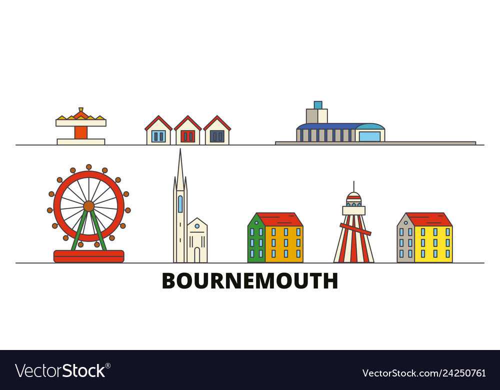 57857647472e9 United kingdom bournemouth flat landmarks Vector Image
