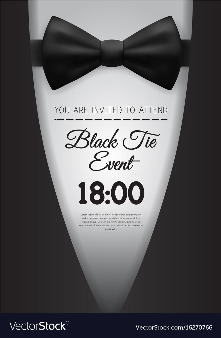 a4 elegant black tie event invitation template vector image