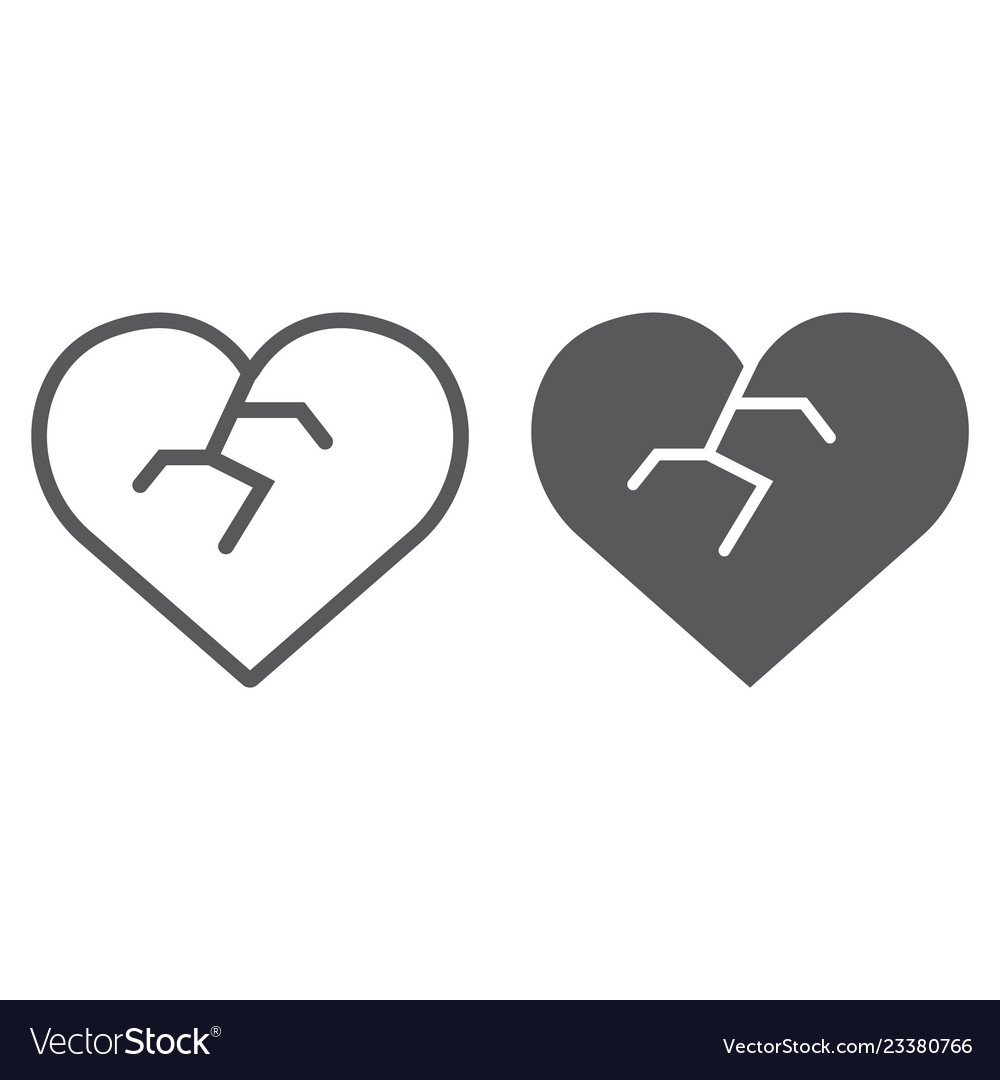 Broken heart line and glyph icon love and broke