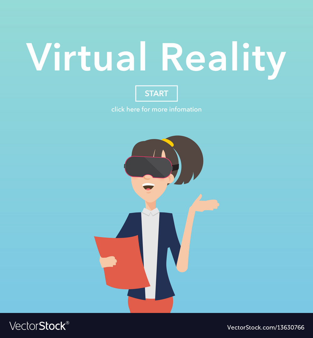 Busineswomen use virtual reality web page concept