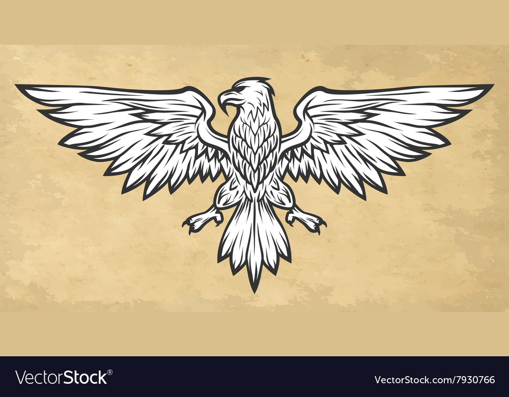 Eagle mascot spread wings Vintage style