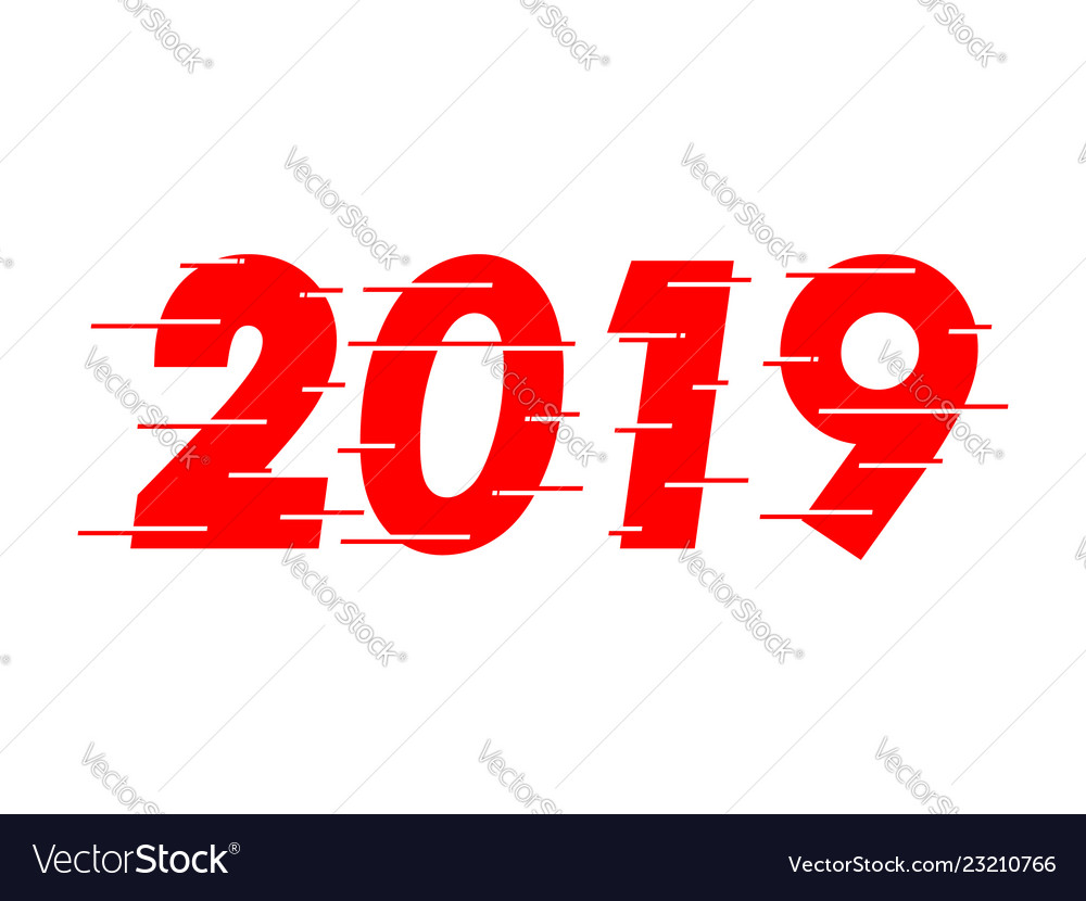 Happy new year 2019 red text design