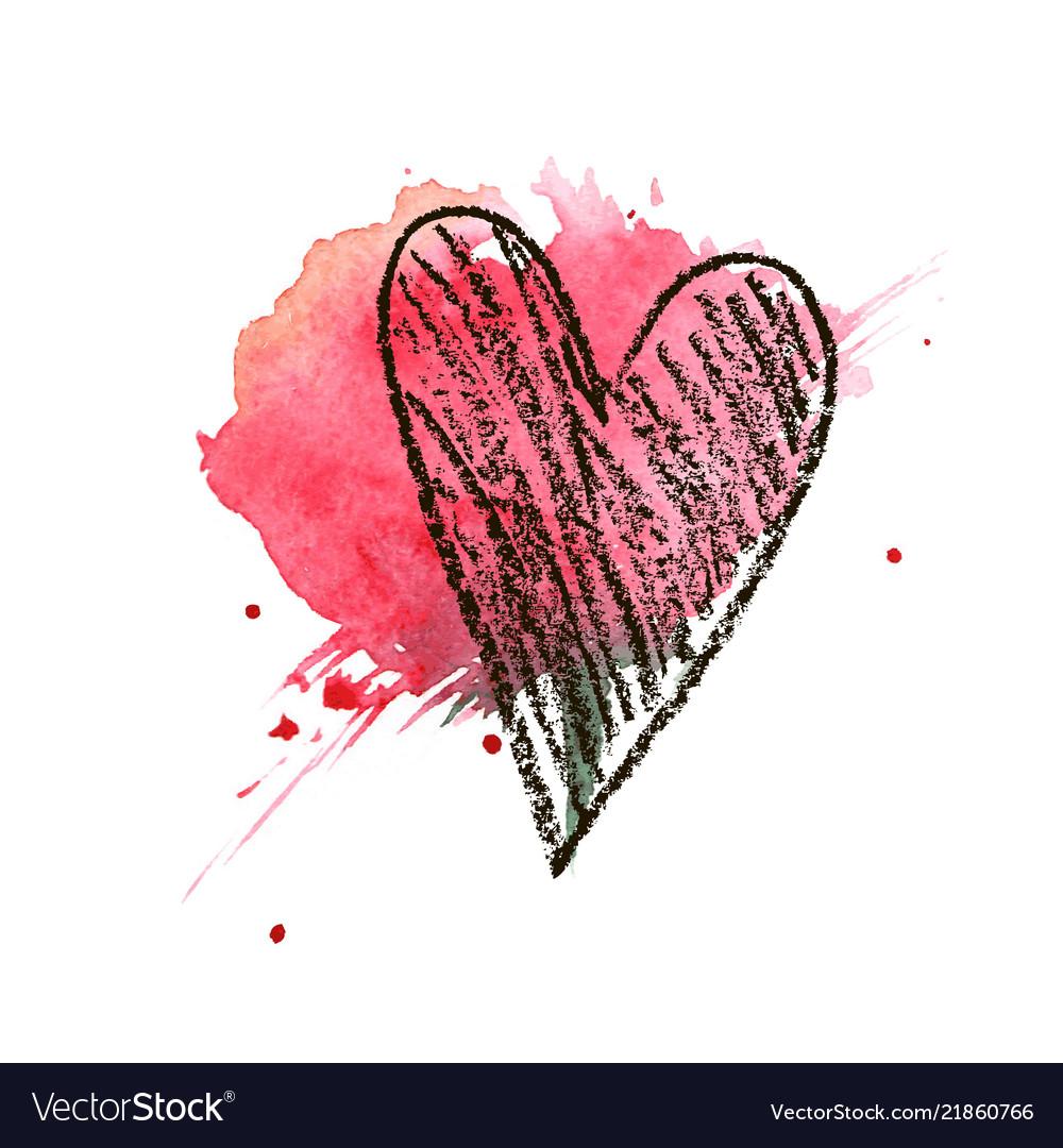 Heart hand drawn valentines day