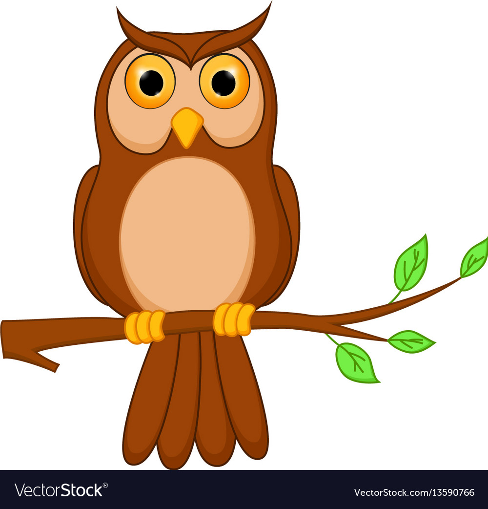 owl cartoon standing on tree royalty free vector image