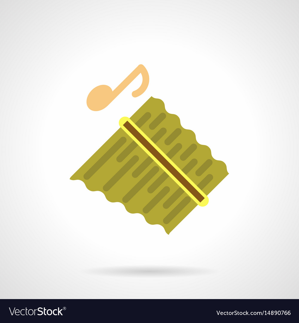 Pan flute instrument flat color icon