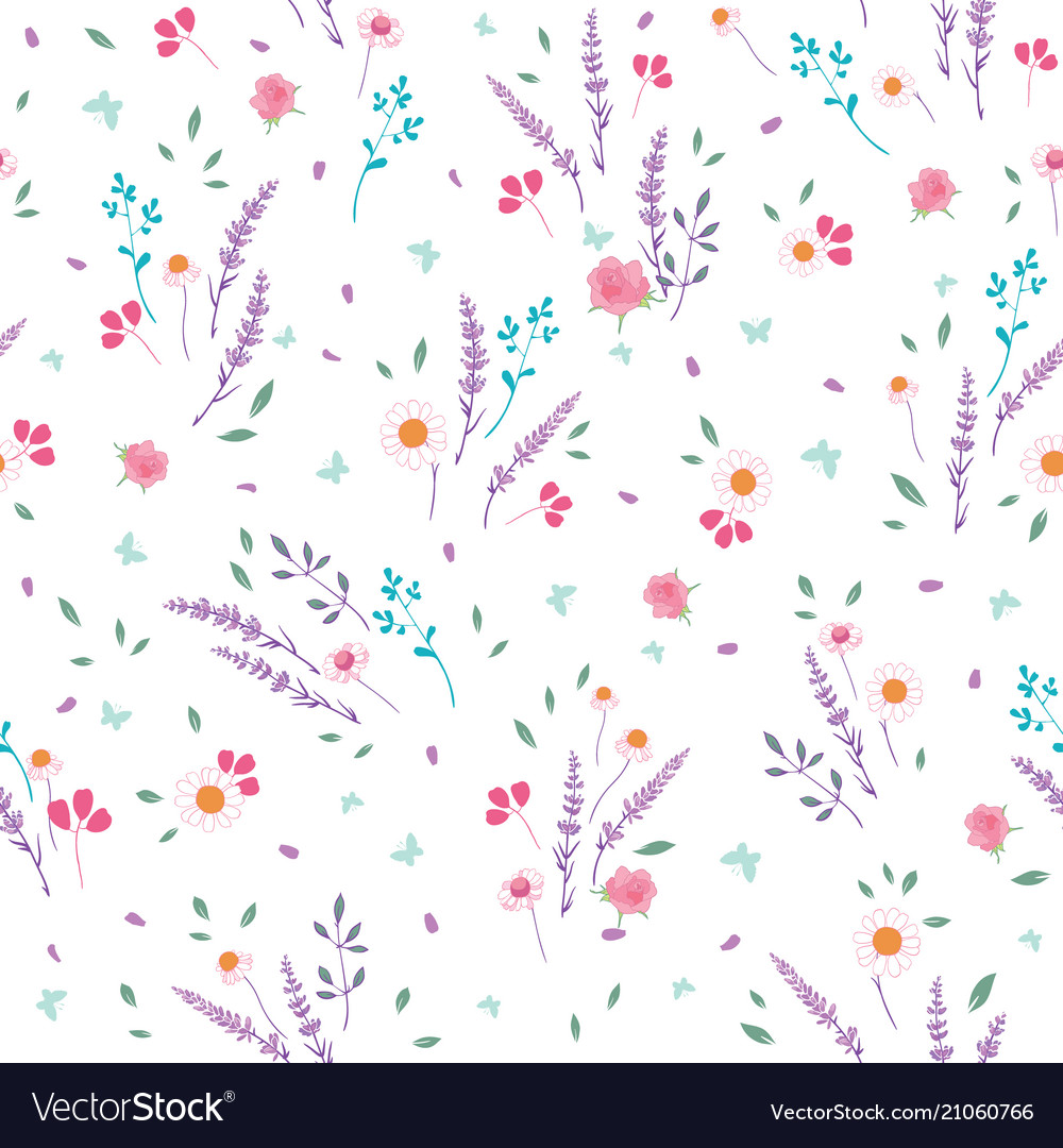 Pink purple roses daisies ditsy seamless pattern