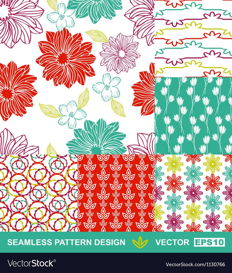 Retro backgrounds flowers geometric ornaments vector image
