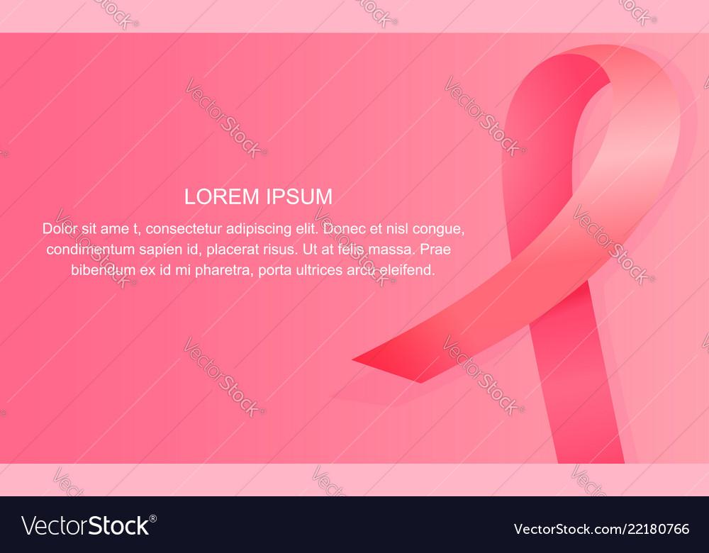 Satin pink ribbon banner national breast cancer