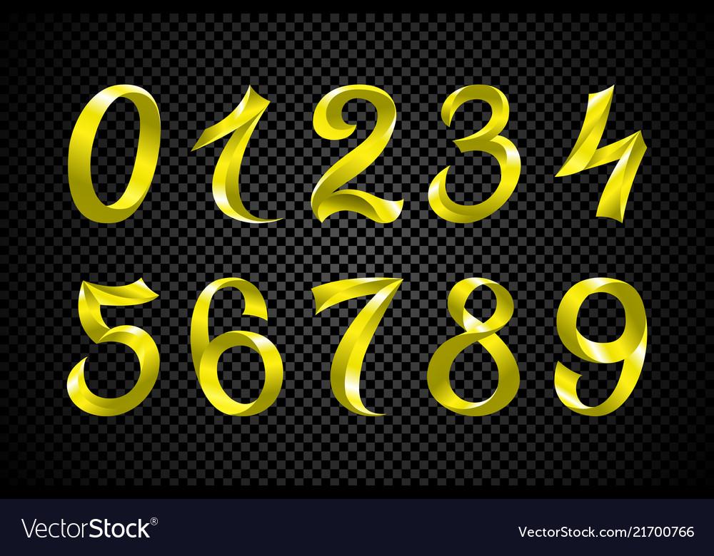 Set of festive yellow ribbon digits iridescent