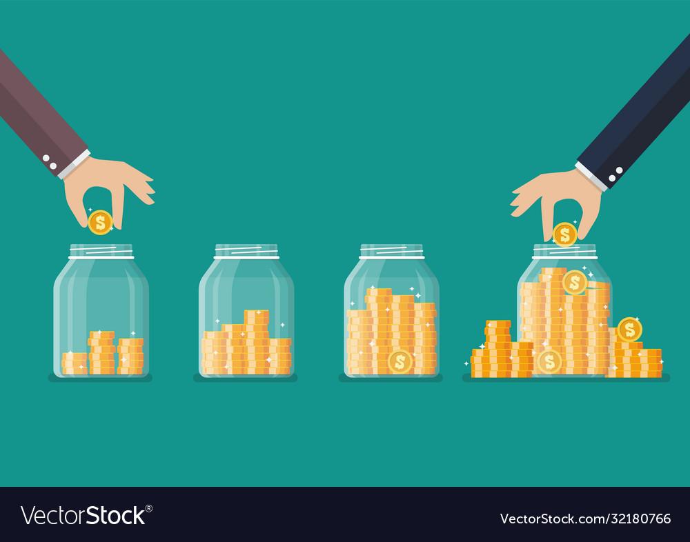 Step hand saving coins in glass jar
