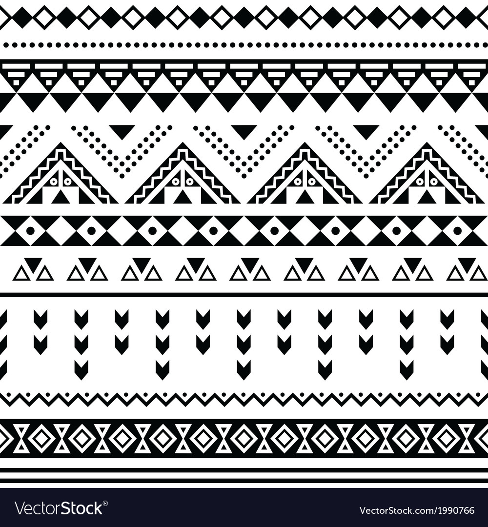 Tibal seamless pattern black aztec print on white vector image