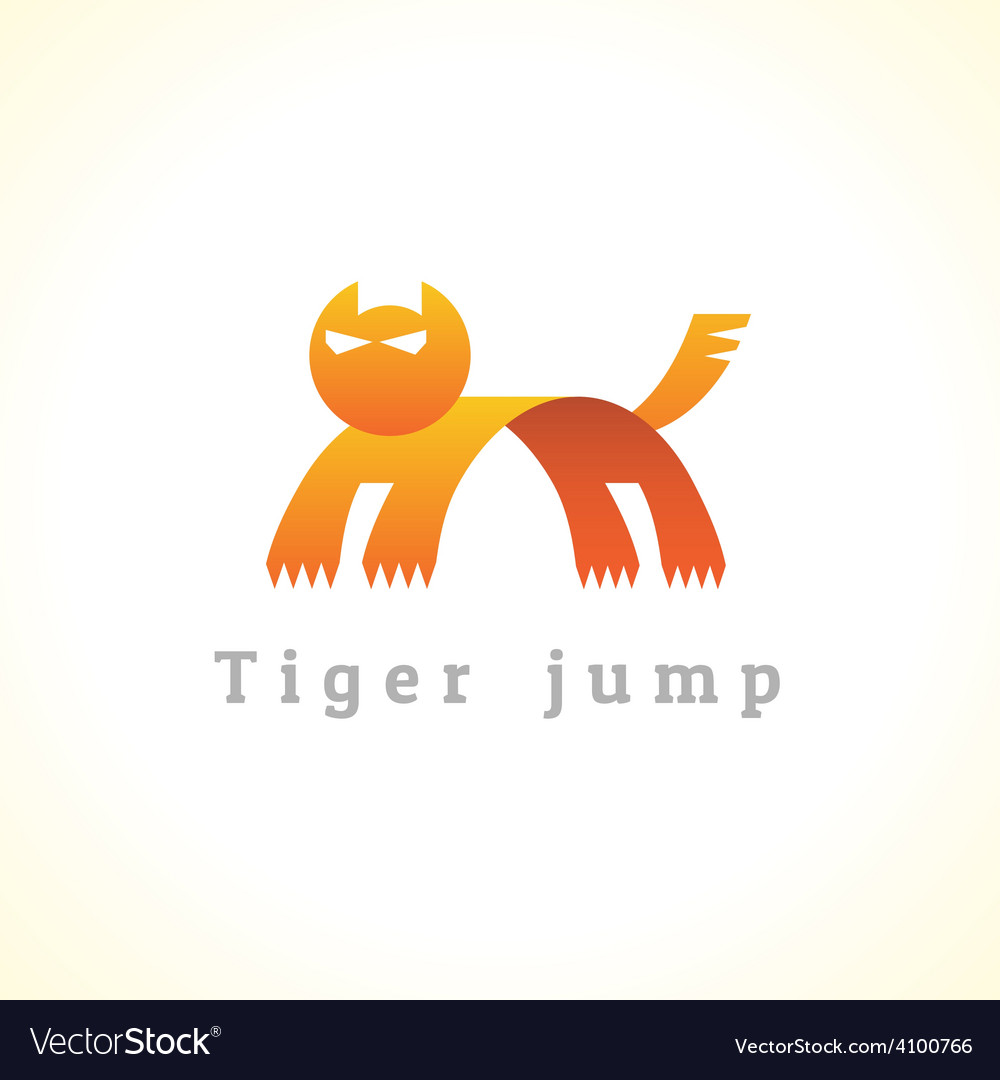 Tiger in a jump stylize logo
