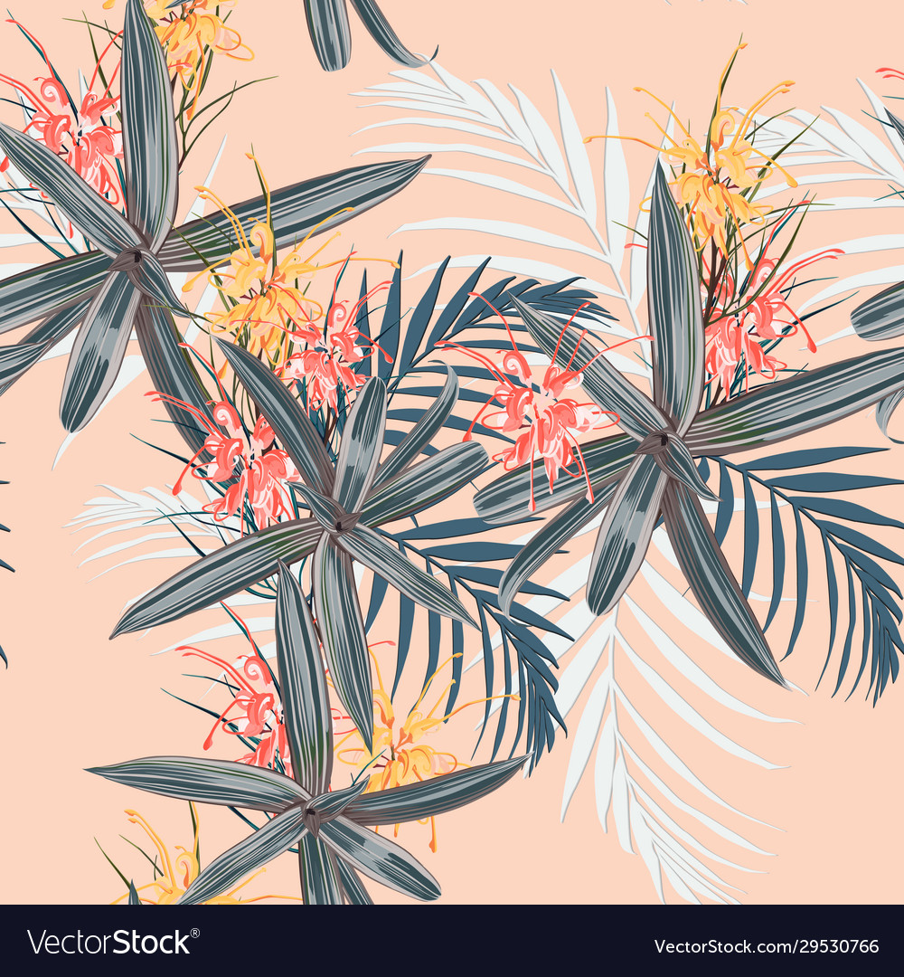 Tropical leaves and paradise protea flowers