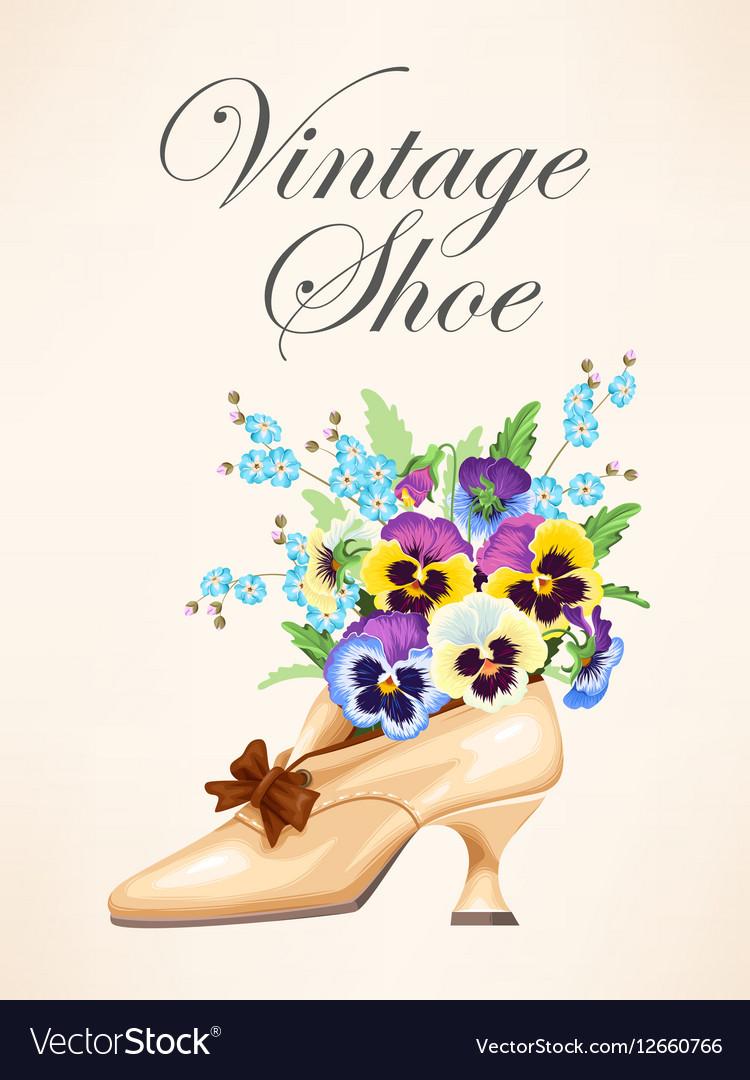 Vintage shoe with pansies